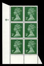GB QE2 Machin 2p green Questa pf15x14 Q17 left margin cylinder UMNH **
