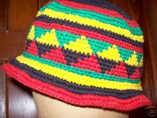 Skull Tribal Cap Hat Hand Knit ooak vintage Free USA ship One size Unmarked