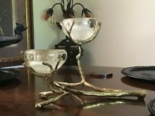 Gold Natural Twig Branch IRON Double Art Glass Votive Candle Holder Centerpiece