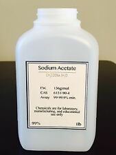 "Sodium Acetate ""CH3COONA 3H2O"" Minimum 99.6% purity! 1 pound BOTTLE"