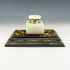 Antique Asprey - Chinoiserie Oriental Lacquer Silver & Polished Marble Ink Well