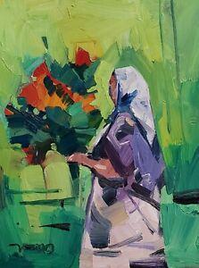 JOSE TRUJILLO Oil Painting IMPRESSIONISM 11X14 FLOWER WOMAN FIGURE SIGNED NR