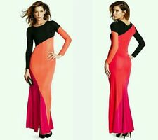 NWT $298 GUESS by Marciano Long sleeves Milla Color-Block Maxi gown Dress size M