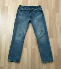 Levi's 514 Distressed Patch Thrashed Denim Blue Jeans 32 x 30