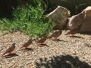 Rustic Quail Family Set Of 5 Metal Yard Art Rusted Farmhouse Landscape Garden