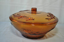 VINTAGE RETRO AMBER LARGE DISH WITH LID KIG INDONESIA FEATURING KOI