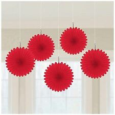 5pk Red Mini Paper Fans 15cm Birthday Wedding Event Party Decorations