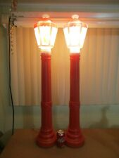 """Vintage Empire 40"""" RED LAMP POSTS STREET LIGHTS Lighted Christmas Blow Molds SET"""