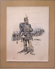 20th Battalion Chasseur colored litho d'apres Ed.Detaille 1883 very rare
