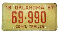 1967 License Plate Oklahoma Com'l Commercial Trailer Plate Car Tag #69-990