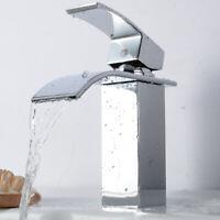 Bathroom Chrome Waterfall Sink Faucet Single Handle Basin Mixer Tap Widespread