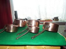 More details for copper french saucepans  graduated set of five  hammered finish  heavy tin lined