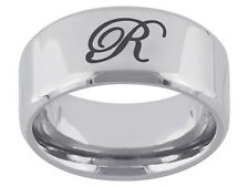 "Gentlemens Initial ""R"" Ring Made in Black Enamel & Stainless Steel Size 9"