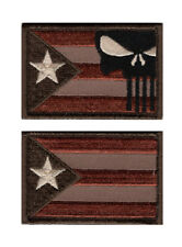 Puerto Rico Flag Punisher Tactical Morale Hook Fastener Patch (2PC-PR9,PR1)