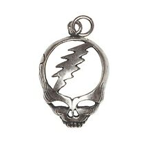 Sterling Silver Oxidized Grateful Dead Lightning Bolt Skull Charm | Made in USA