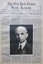 HENRY FORD MOVING FORWARD - DANIEL WEBSTER 1930 October 26 NY Times Book Review