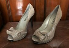 MODA SPANA Women's Black Snake Print Leather Peep Toe Heels Pumps Shoe Taupe 7 M