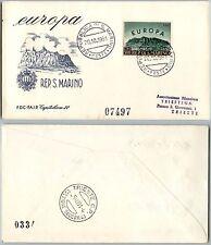 SAN MARINO-FDC Capitolium 22 FAIP-500L Europa-Busta x Trieste 20.10.1961