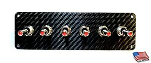 Carbon Fiber 6 Toggle Switch Panel - RED LED