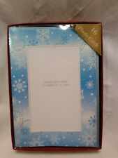 Photo insert Christmas cards 16 Blue Snowflake design cards envelopes Cr Gibson
