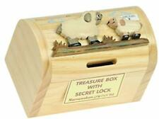 More details for sheep money box with secret lock : childrens wooden treasure chest piggy bank