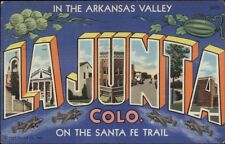 La Junta CO Large Letter Linen Postcard