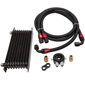 10 ROW Universal AN10 Oil Cooler + Thermostat Oil Filter Adapter Kit