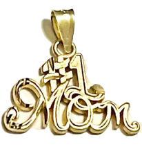 14K Yellow Gold #1 Mom Charm Pendant