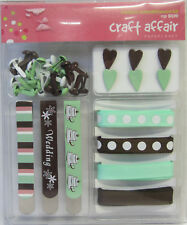 Scrapbooking & Card Making Embellishment Kit 43 Pieces Brown & Green Wedding