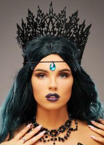 Gothic Halloween Wicked Queen Black Crown Jewel Headpiece Fancy Dress Accessory
