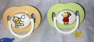 Vintage Avent Silicone Pacifiers- Orange/Green Teddy Bears!! Size 6+ Months
