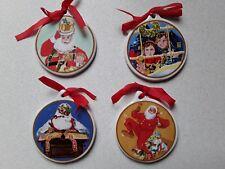 SET OF 4 SUPERB CERAMIC CHRISTMAS TREE DECORATIONS/HANGING CHRISTMAS DECORATIONS