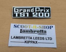 LAMBRETTA GP TS1 200 GRAND PRIX METAL LEGSHIELD BADGE . FOR LAMBRETTA GP TSI 200