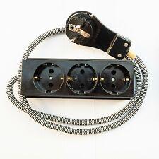 EU Euro AC Power Socket with Textile Cable 3way Schuko Textile Bakelit