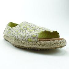 Toms Womens Alpargata Open Toe Espadrille Flat Shoes White Leopard Slip On 6 New