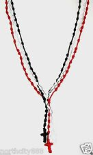 Rosary Necklace long knotted Black Red White cord rope lot of 3 Rosaries beads