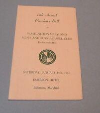 1961 Washington Maryland Men's and Boys' Apparel Club President's Ball Program