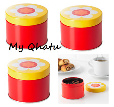 3 x IKEA Sommar 2019 Tin with Lid Red/Yellow