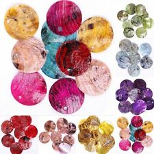 50pcs Multicolor Mussel Shell Round Flat Coin Beads Charms For DIY Craft 18mm