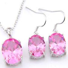 Precious Handmade Jewelry Set Sweet Pink Topaz Gems Silver Pendant+Earrings