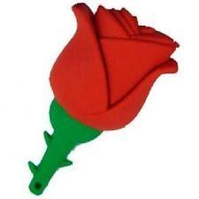 USB Stick 8GB Rojo Rosa con espinas Flor Verde Rojo Silicona CARCASA
