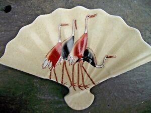 Vtg Asian Oriental Ceramic Fan Shaped Pin Trinket Dish Hand Painted Crane Birds