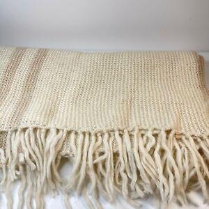 vintage throw blanket afghan beige cream striped standard size wool woven 50x70