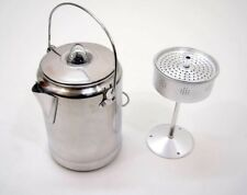 More details for vintage style camping coffee percolator 9 cup aluminium stove fire top outdoor