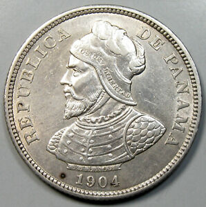 1904 Panama 25 Centesimos Silver Coin