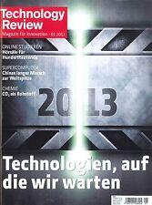 Technology Review, Heft Januar 1/2013:Technologien, auf die wir warten + wie neu