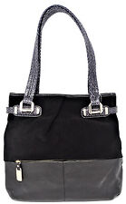 NWT B. MAKOWSKY HAND BAG COLLINS TOTE SUEDE/LEATHER BLACK MSRP: $288.00