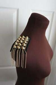 1 Pair of shoulder patch trims, black with gold studs and chains epaulettes