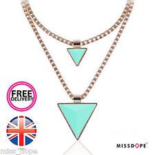 NEW Triangle Jade Gold Spike Necklace Double Chain Womens Choker Ladies Boho UK