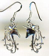 "925 Sterling Silver Unicorn Drop / Dangle Earrings   Length 1.5/8""  Horn Horse"